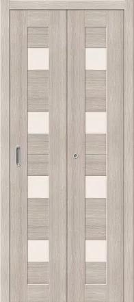 Дверь межкомнатная из эко шпона складная «Порта-23» Cappuccino Veralinga остекление Сатинато белое