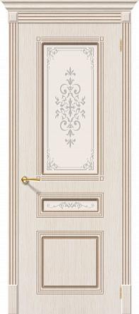 Дверь межкомнатная шпонированная «Стиль» БелДуб (Шпон файн-лайн) остекление художественное