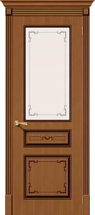 Дверь межкомнатная шпонированная «Классика» Орех (Шпон файн-лайн) остекление художественное