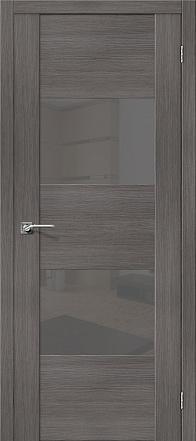 Дверь межкомнатная из эко шпона «VG2 S» Grey Veralinga остекление Lacobel серый
